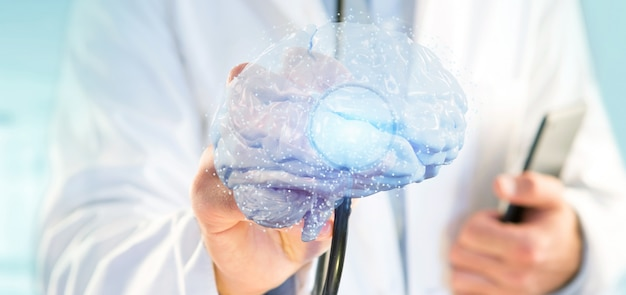 Doctor holding a 3d rendering artificial brain