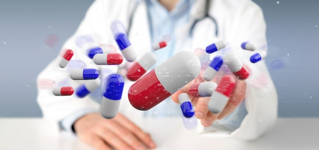 Doctor holding  a 3d rendering group of medical pills