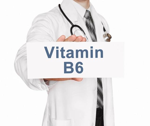 비타민 b6, 의료 개념 카드를 들고 의사