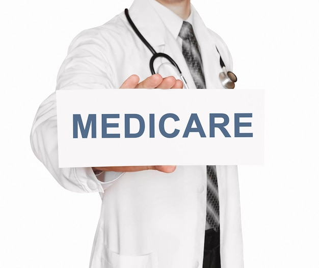 Doctor holding a card with medicare, medical concept