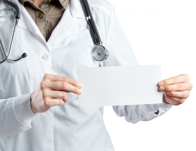 Doctor holding card with stethoscope isolated