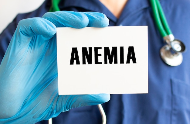 Doctor holding a card with text anemia