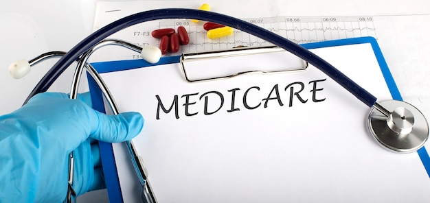 Doctor holding a card with text medicare, medical concept