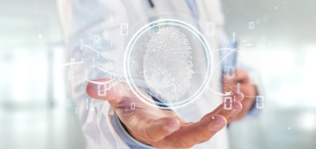 Doctor holding a digital fingerprint identification and binary code 3d rendering