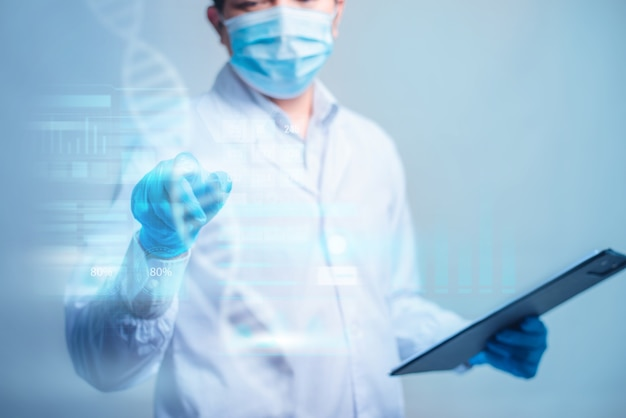 Doctor holding a documet and touch on technological digital futuristic hud interface. innovative in science and medicine concept.
