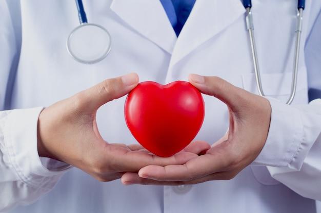心臓病のケアの概念のために心臓を保持している医師
