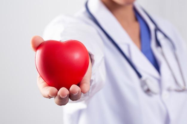 心臓病の治療と予防の概念のために広げられた心臓を保持している医師