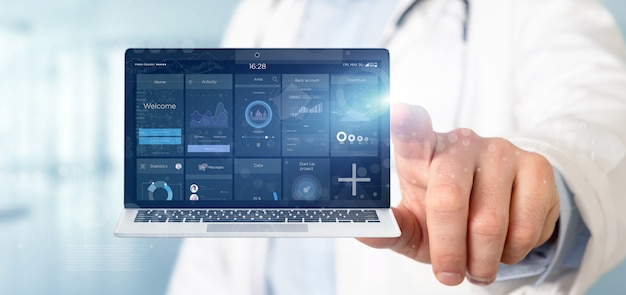 Doctor holding laptop with business user interface data on the screen isolated