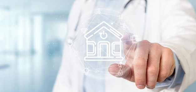 Doctor holding smart home interface with icon, stats and data
