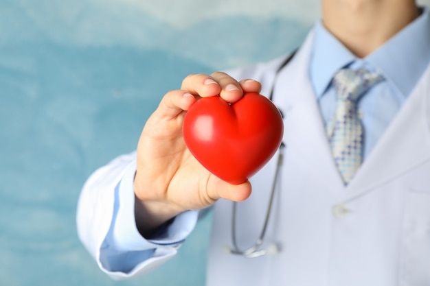 Doctor holds heart against blue surface, close up