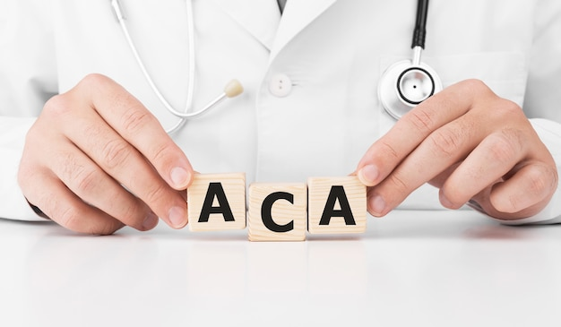 Doctor holds wooden cubes in his hands with text aca