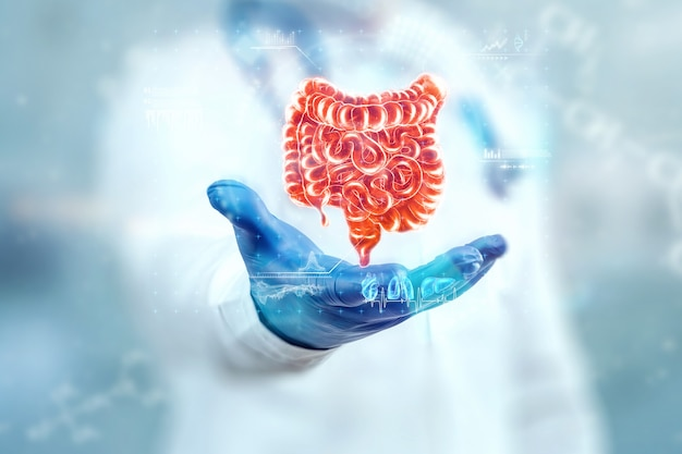 The doctor looks at the hologram of the intestine, checks the test result on the virtual interface and analyzes the data. ulcer, surgery, innovative technologies, medicine of the future.