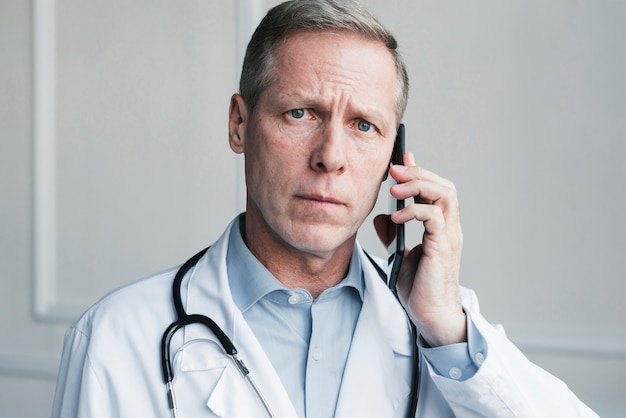 Doctor making a phone call