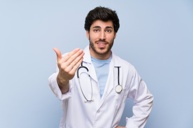 Doctor man inviting to come