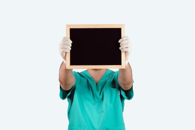 Doctor man with blackboard