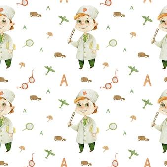 Врач-офтальмолог дети милый персонаж акварельные иллюстрации на белом