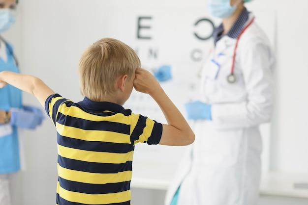 クリニックで小さな男の子の視力をチェックする医師の眼科医n保護マスク