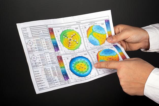Врач офтальмолог показывает топографию роговицы глаза с кератоконусом на темной стене крупным планом.