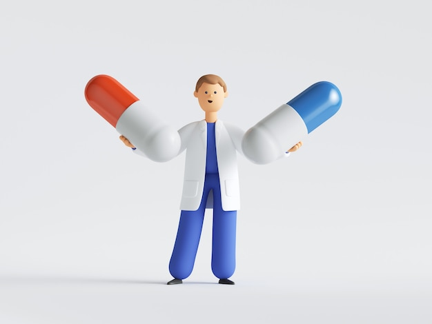 두 개의 큰 알 약을 들고 의사 또는 약사 만화 캐릭터.