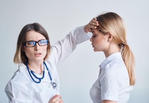 의사 환자 검사 의료 격리 배경입니다. 고품질 사진