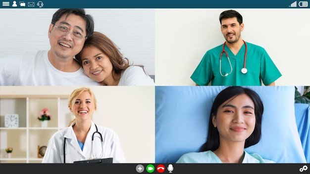 Doctor and patient talking on video call