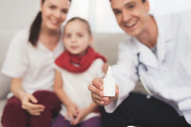 Doctor receiving consultation. sick little girl.