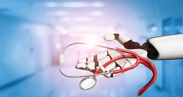 Doctor robot holding stethoscope in hospital