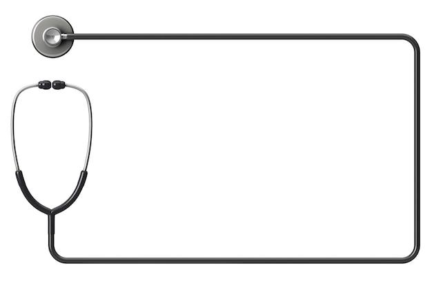 Стетоскоп врача в виде рамки на белом фоне с пространством для текста