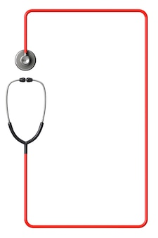 Стетоскоп врача в красной рамке на белом фоне с пространством для текста