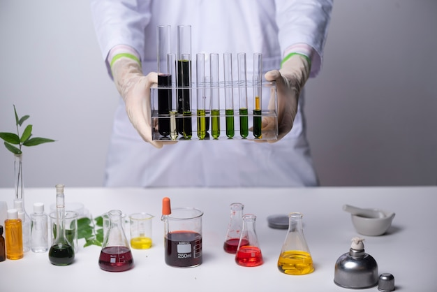 Doctor scientists researching in laboratory, healthcare and biotechnology concept.