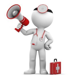 メガホンで叫んでいる医者。
