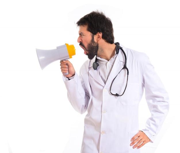 医者、孤立した、白、背景