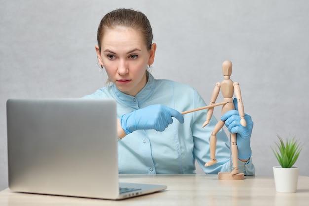 Doctor teacher tells an online lecture.