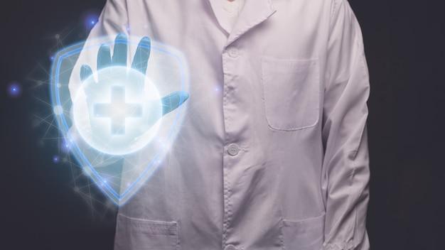 전자 홀로그램 보호 질병 현대 가상 화면 그림을 만지고 의사
