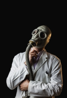 Doctor with gas mask and thinking