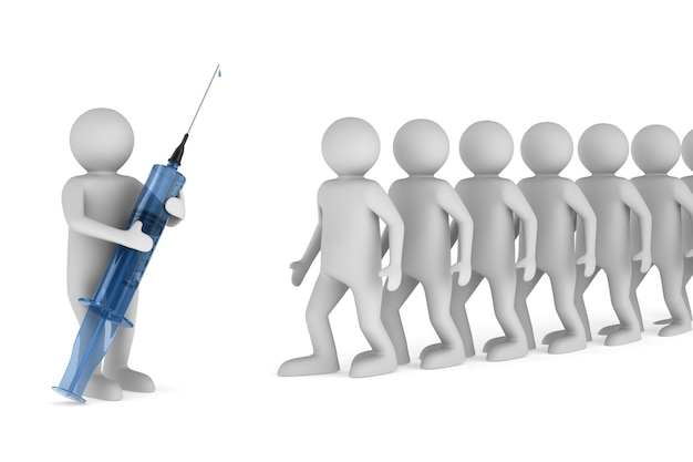 Doctor with medical syringe and patientes on white background. isolated 3d illustration