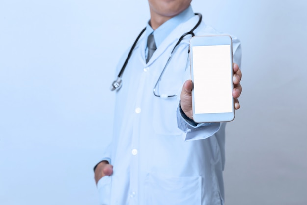 Doctor with smartphone