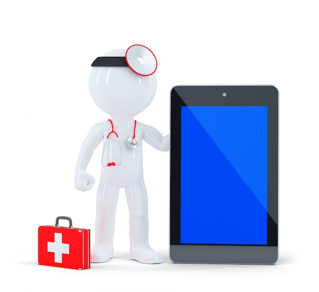 Doctor with stethoscope showing blank digital tablet pc. Free Photo