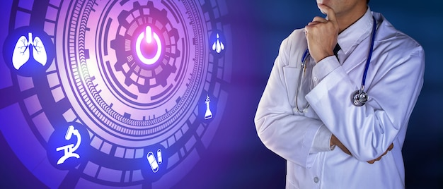 デジタルアイコンに触れる聴診器で医師
