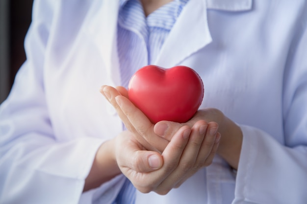 Doctor woman hand holding the red heart with carefully