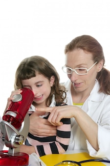 Doctor woman teacher and pupil microscope
