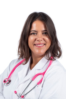 Doctor woman with pink stethoscope on a white background.