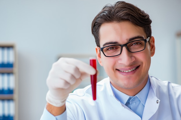 Doctor working with blood samples