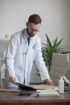 Doctor working with ct scan