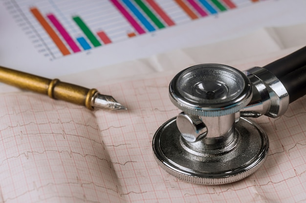 Doctor workplace stethoscope on cardiogram sheet closeup
