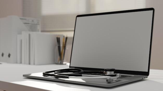 Doctor workspace with stethoscope on laptop mockup 3d rendering 3d illustration