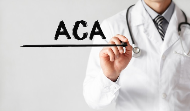 Doctor writing word aca with marker, medical concept
