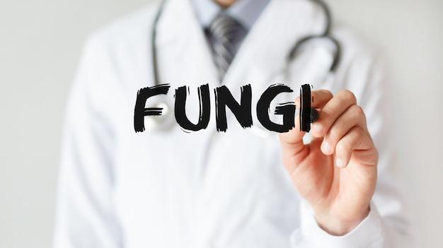 Доктор писать слово грибы с маркером, медицинская концепция