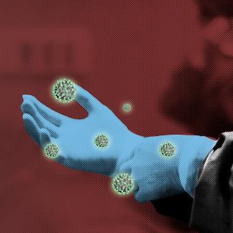 Doctors gloved hand contaminated with coronavirus background