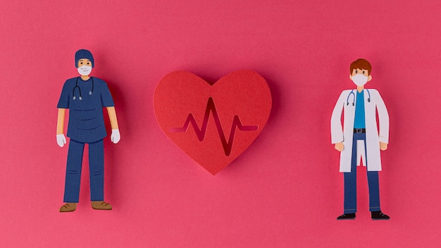 Doctors and hearth made out of paper